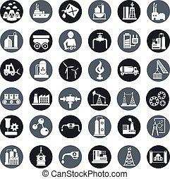 przemysł, wektor, komplet, fabryka, ikony