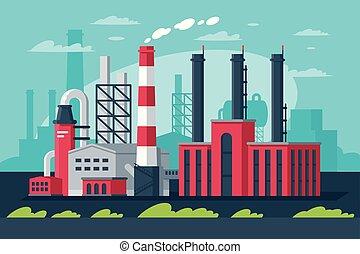 przemysłowy, city., pas, cielna, nowoczesny, wielki, fabryczny