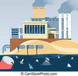 przemysłowy, dumping, fabryka, zanieczyszczony, woda, waste., brudny, rzeka, wastewater