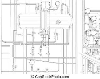 przemysłowy, equipment., wire-frame, render