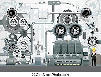przemysłowy, fabryka, ilustracja, wyposażenie, technika, ...