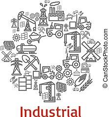 przemysłowy, ikony, zagroda, afisz, wektor, rolnictwo