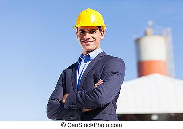 przemysłowy, inżynier, w, górnictwo, umiejscawiać