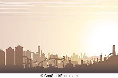 przemysłowy, krajobraz., sylwetka na tle nieba, wektor