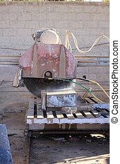 przemysłowy, mniejszy, kawałki, maszyna, cięcie, skała, płyty