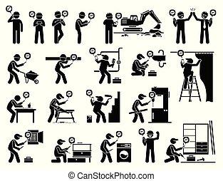 przemysłowy, ruchomy, app, pracownik, zbudowanie, używając, smartphone.