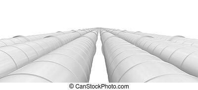 przemysłowy, rurociągi, odizolowany, tło, biały, hałas