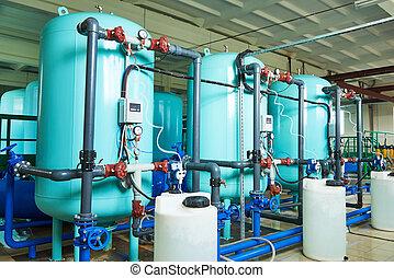 przemysłowy, system, filtracja, puryfikacja, albo, woda, wyposażenie