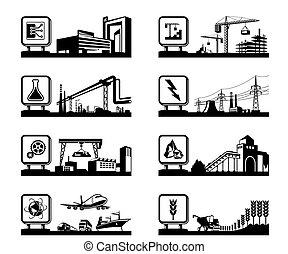 przemysły, logos, różny