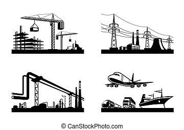 przemysły, różny, typy
