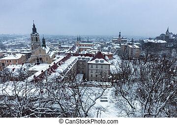 Przemysl panorama in winter scenery. Przemysl, Podkarpackie, Poland.