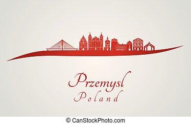 Przemysl skyline in red