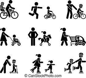 przenosić, ich, dzieciaki, rodzice