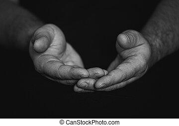 przeplatany, klucz, zamknięcie, god., palce, modlący się, do góry, odizolowany, czarnoskóry, siła robocza, tło., dojrzały, fałdowy, wierny, pojęcie, człowiek, cześć, niski