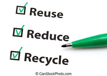 przerabianie surowców wtórnych, reuse, redukować