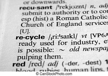 przerabianie surowców wtórnych, -, słownik, definicja, od, handlowy, słowo
