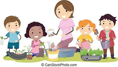 przerabianie surowców wtórnych, stickman, dzieciaki, ogrodnictwo, nauczyciel