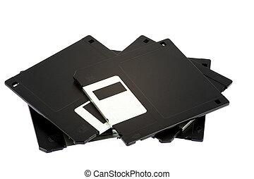 przestarzały, komputer, krążki dyskietki, na białym, tło