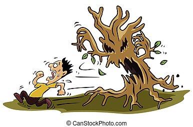 przestraszony, drzewo, potwór, człowiek