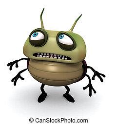 przestraszony, zielony bug
