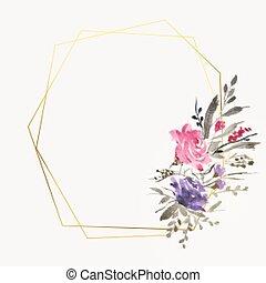 przestrzeń, śliczny, układa, kwiat, tekst, akwarela