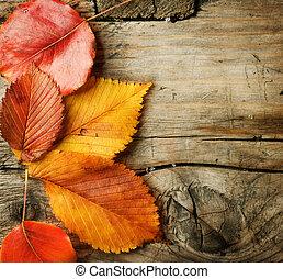 przestrzeń, drewniany, liście, jesień, tło., kopia, na