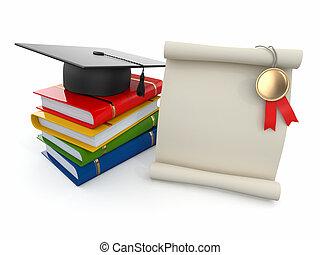 przestrzeń, graduation., books., dyplom, mortarboard, tekst