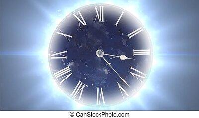 przestrzeń, i, time., mocny, ruchomy, zegar, z, losy, od,...