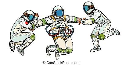 przestrzeń, izolować, trzy, astronauci, powaga, zero, tło, ...