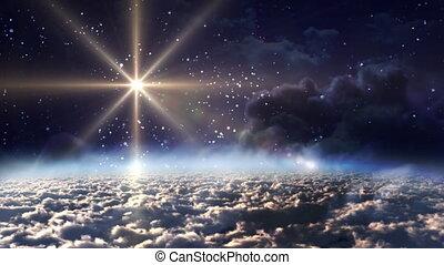 przestrzeń, noc, żółta gwiazda