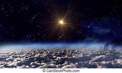 przestrzeń, noc, żółta gwiazda, ogień