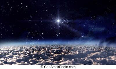 przestrzeń, noc, błękitna gwiazda, ogień