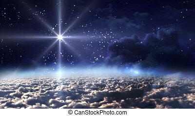 przestrzeń, noc, błękitna gwiazda