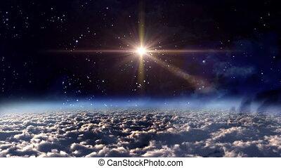 przestrzeń, noc, czerwona gwiazda, krzyż