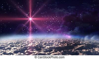 przestrzeń, noc, czerwona gwiazda