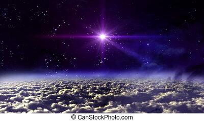 przestrzeń, noc, gwiazda, krzyż