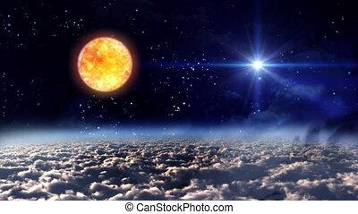 przestrzeń, noc, słońce, z, gwiazda