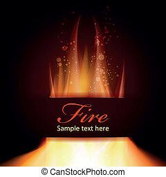 przestrzeń, ogień, tekst, czarne tło, płomień