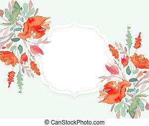 przestrzeń, piękny, kwiat, tekst, tło, akwarela