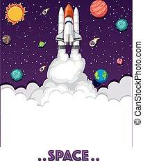 przestrzeń, planety, rocketship, dużo, temat, tło