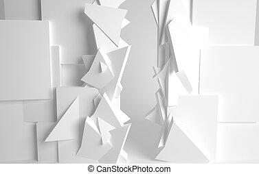 przestrzeń, pokój, formuje, konceptualny, różny, biały, 3d