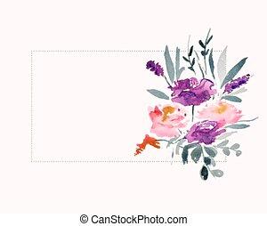 przestrzeń, powierzchnia, akwarela, tekst, kwiat, ozdoba