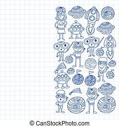 przestrzeń, studenci, doodle, szkoła, learning., wykształcenie, nauczyciel, próbka, children., style., nauka