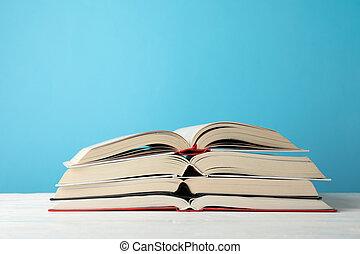 przestrzeń, tło, przeciw, książki, błękitny, stóg, tekst