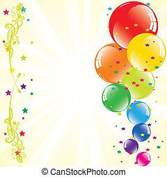 przestrzeń, tekst, świąteczny, wektor, balony, light-burst