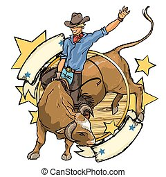 przestrzeń, tekst, kowboj, etykieta, byk, rodeo, projektować, jeżdżenie