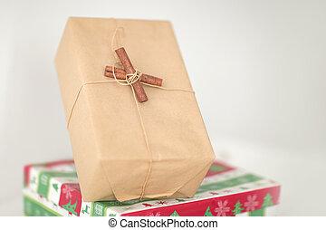przestrzeń, up.christmas, boxes., zamknięcie, dar, kopia, fotografia