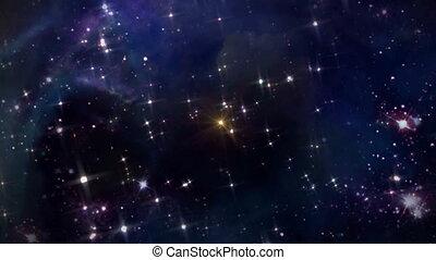 przestrzeń, z, żółta gwiazda