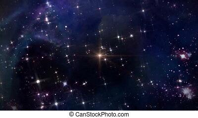 przestrzeń, z, żółta gwiazda, krzyż
