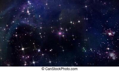 przestrzeń, z, różowa gwiazda, krzyż